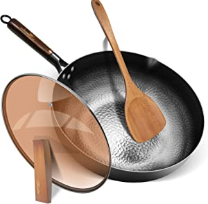 Fry Pan with Lid,Aneder Wok Pan Carbon Steel Wok with Detachable Wooden Handle & Wood Spatula Iron Pot 12.5