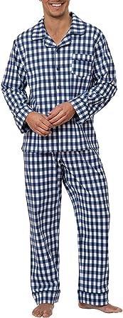 PajamaGram - Pijama clásico para Hombre - Manga Larga - Algodón - Azul Marino - Rayas