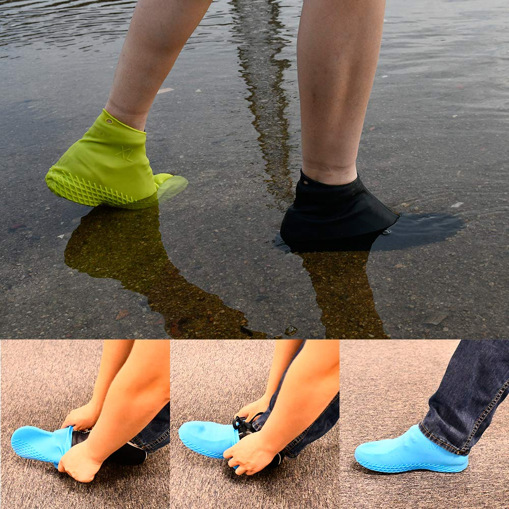 LEGELITE Reusable Silicone Waterproof Shoe Covers No-Slip Silicone Rubber Shoe Protectors for Kids,Men and Women Size M