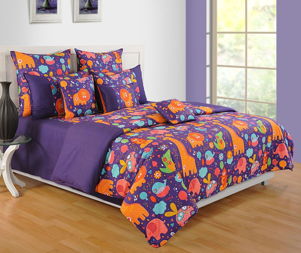 Yuga Décor Printed Purple and Orange Little Angels Kids Cotton King Size Decorative Duvet Cover Bed Set 90 X 108 Inches