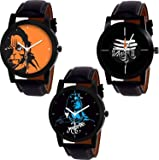 Foxter Mhadev Men's Leather Watches with Analogue Dial Combo