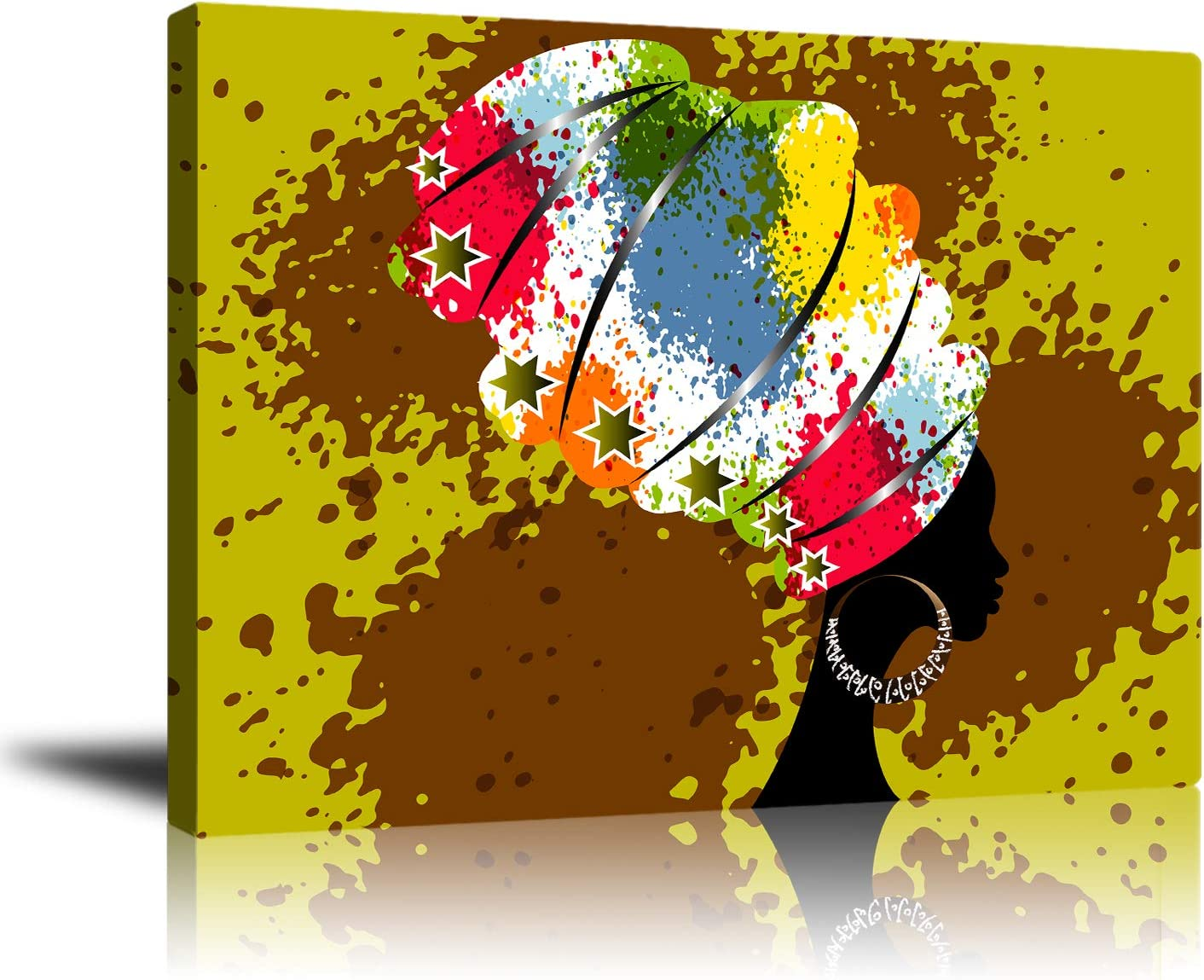 African American Black Women Wall Art for Living Room Decor, Colorful Headdress Portrait Canvas Print Vibrant Graffiti Poster Artwork for Bedroom Home Decoration Framed Ready to Hang 16x20 Inch