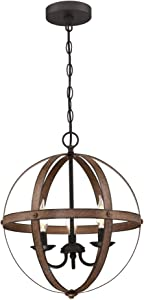 Westinghouse Lighting 6110500 Stella Mira Vintage Three-Light Indoor Chandelier Barnwood Finish with Oil Rubbed Bronze Accents, Two Tone