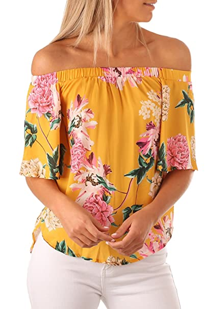 827319e3d151 Chvity Women's Summer Floral Print Half Sleeve Off Shoulder Tops Dressy  Blouses at Amazon Women's Clothing store: