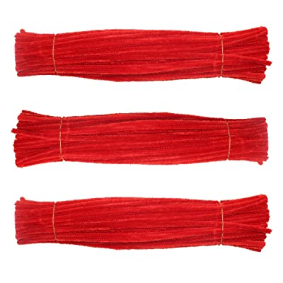 Craft Pipe Cleaners 300 PCS Red Chenille Stem 6MM x 12 INCH Twistable Stems Children's Bendable Sculpting Sticks for Crafts and Arts (Red): Arts, Crafts & Sewing