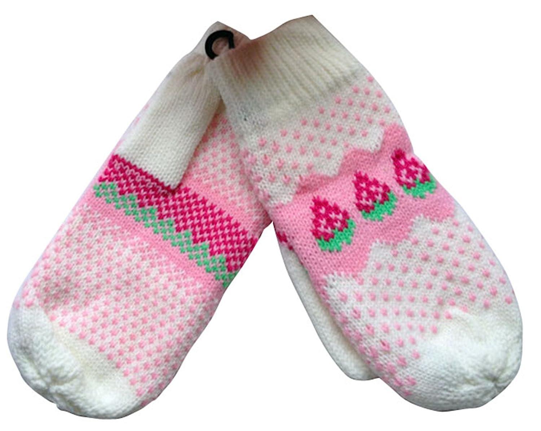 KingWinX Girls Winter Strawberry Knitted Gloves