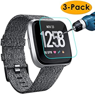 KIMILAR [3-Pack] Screen Protector Compatible with Fitbit Versa/Versa Lite Smart Watch, Waterproof Tempered Glass Screen Protector [9H Hardness] ...