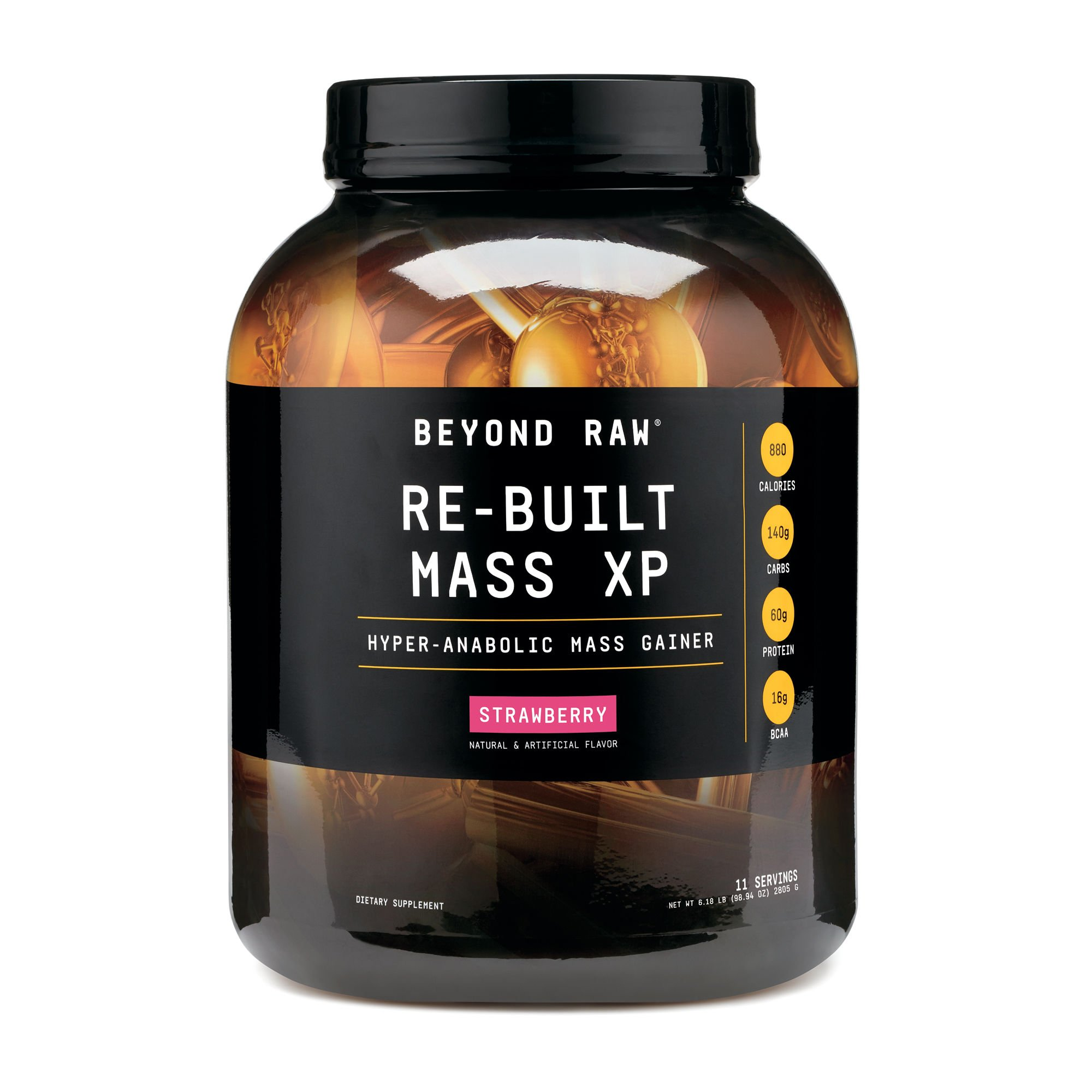 Beyond Raw Re-Built Mass XP CA Only, Strawberry, 11 Servings, Contains 880 Calories, 140g of Carbohydrates and 60g of Protein