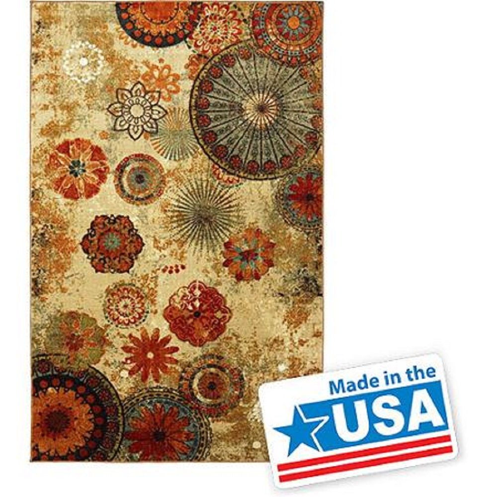 New Medallion Floral Shapes Area Rug 8 Feet X 10 Feet , Multicolor, Multi Color,Carpet, Soft Rug, Stain Resistant, Foyer, Dining Room, Living Room, Bedroom by mohawk