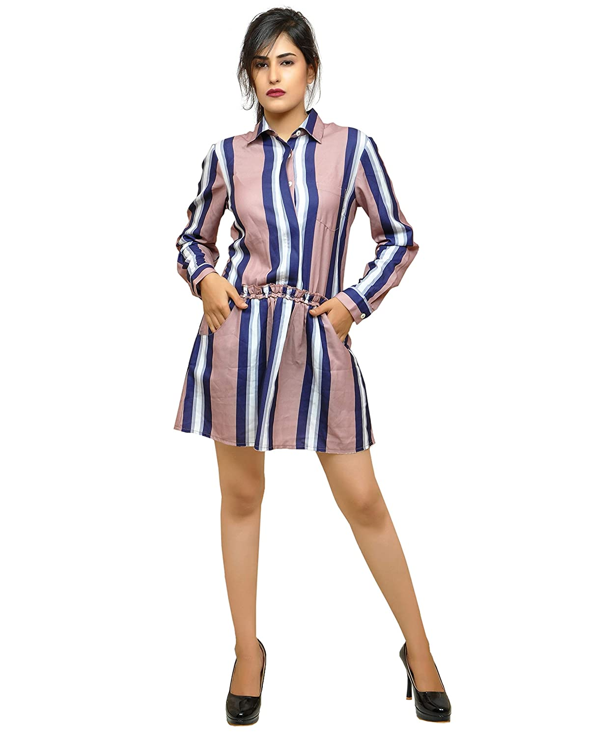 33213a8cbea08 RESHA Women's Purple Pink Striped Western Formal Shift Dress: Amazon.in:  Clothing & Accessories