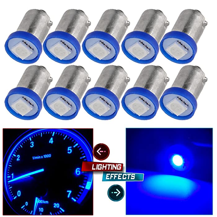 cciyu 10X 1895 BA9S LED Light Dash Instrument Panel Cluster Ash Tray Light Bulbs 1815 1816 182 1889 1891 1892 Replacement fit for Instrument panel Glove box License plate Boat cabin lamp Blue (blue)