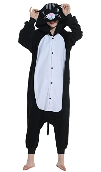 DATO Ropa de Dormir Pijama Gato Negro Cosplay Disfraz Animal Unisexo Adulto