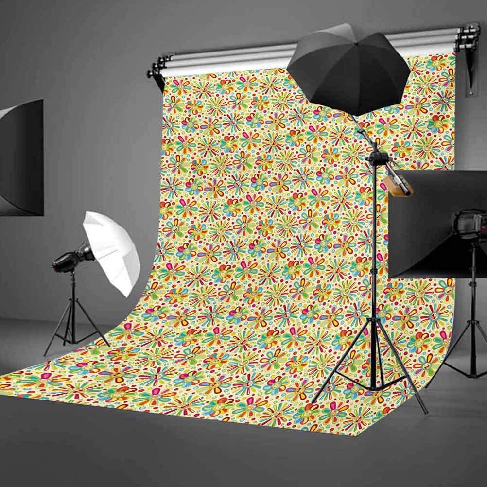 Floral 10x15 FT Photo Backdrops,Cartoon Style Colorful Dots and Petal Funny Characters with Glasses Abstract Pattern Background for Baby Shower Bridal Wedding Studio Photography Pictures Multicolor