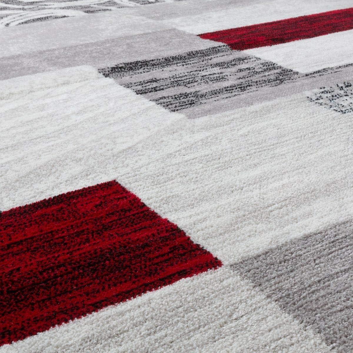 T/&T Design Tappeto Conveniente Design Patchwork Tappeto Moderno Per Soggiorno In Grigio Rosso Bianco Gr/ö/ße:60x100 cm