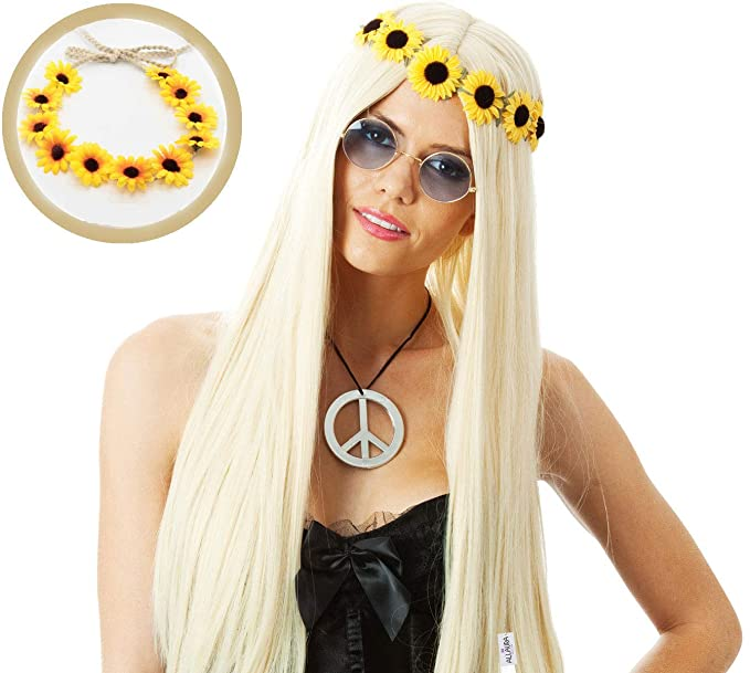 Allaura Blond Hippie Wig Flower Hair Band 70s Costumes Women Long Blonde Straight Hair