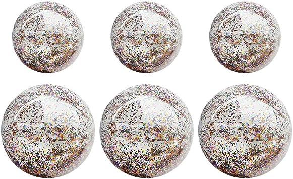 BESPORTBLE 6 Piezas de Bolas de Playa de Lentejuelas inflables Bola de Playa con Brillo PVC Transparente Juego Divertido Bola de Billar Favor Juguete Interactivo para Deportes: Amazon.es: Juguetes y juegos