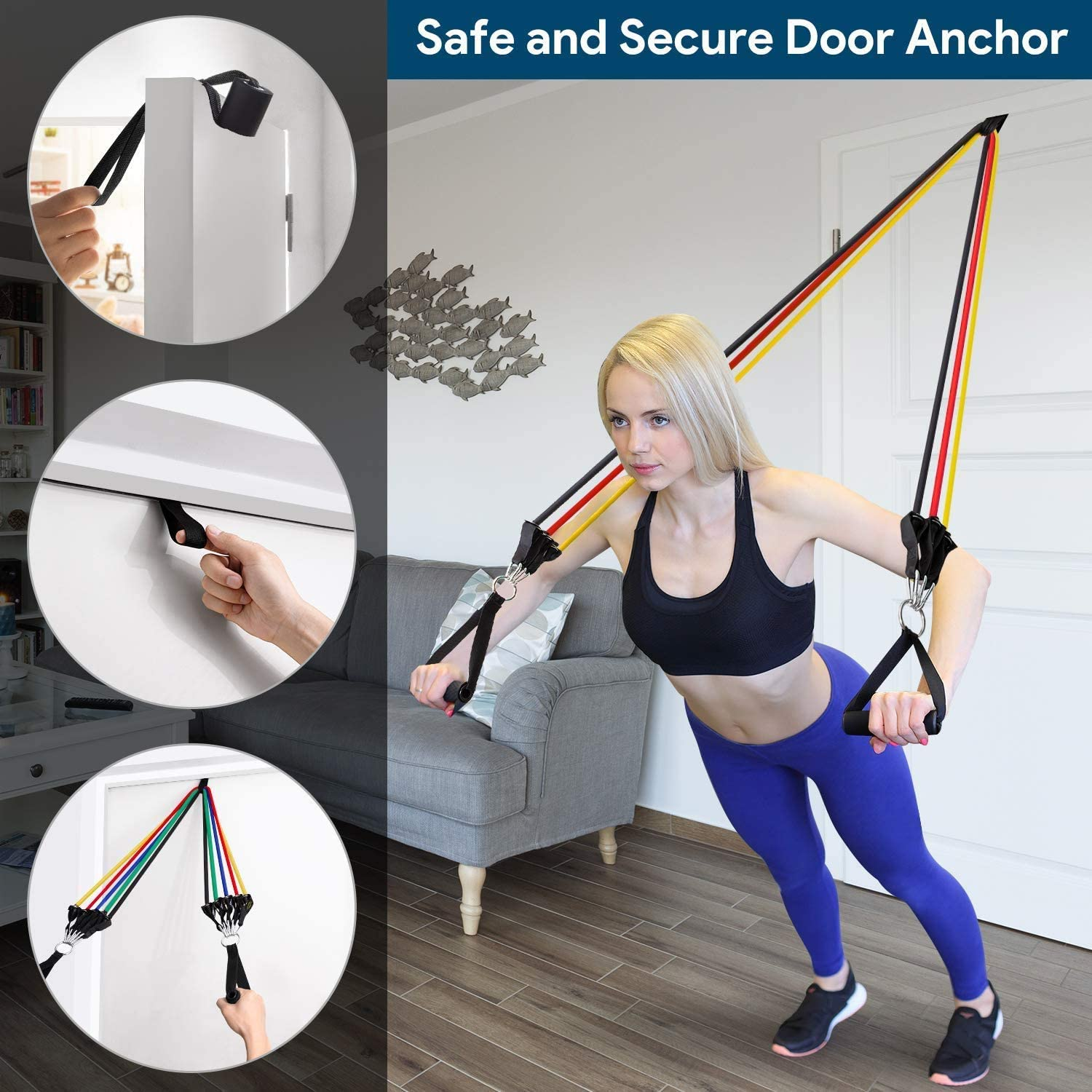 Lifestyle Fitness Resistance Band Set Premium 11pc Portable Exercise Bands with Door Anchor  Non-Slip Handles Leg and Ankle Straps  Resistance Training Physical Therapy Home Workout : Sports & Outdoors