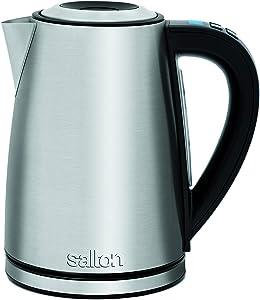 Salton JK1657 Stainless Steel Variable Temperature 1.7 L/QT Kettle, 1.7 Liters, Silver