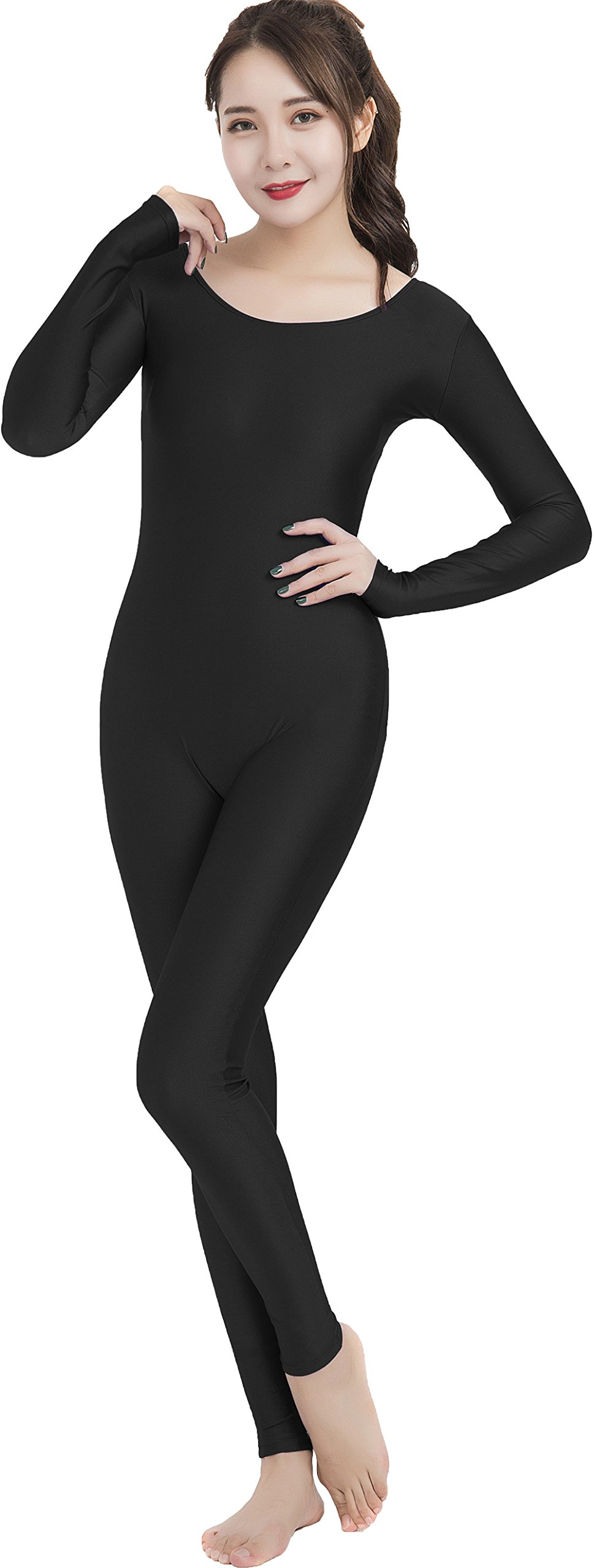 Speerise Unitard Bodysuit Long Sleeve Spandex For Women Dance Costume L Black