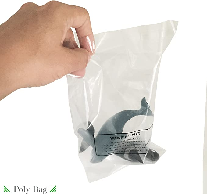 400 Pcs 11x14 PE Clear Poly Bags 1.6mil Self-seal with Suffocation Warning