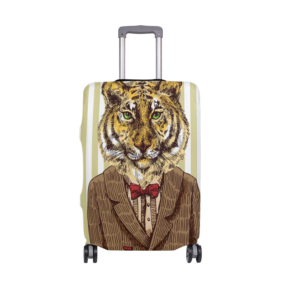 ALAZA Jacket Tiger Stripe Luggage Cover Fits 18-22 Inch Suitcase Spandex Travel Protector S