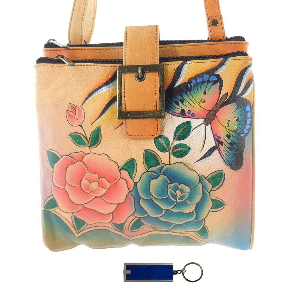 Anna By Anuschka Travel Organizer Purse - Hand Painted Design on Real Leather Crossbody Handbag - Free Key Chain … (3 Copm Antique Rose Safari)
