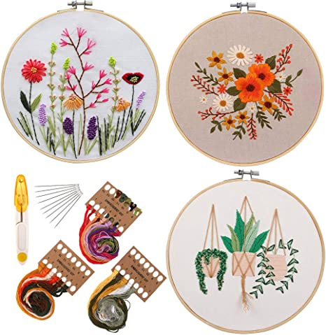 Bamboo Embroidery Hoop Beginner Cross Stitch Kit Including Embroidery Cloth Color Threads and Tools Kit 3 Pack Full Range of Embroidery Starter Kit with Pattern