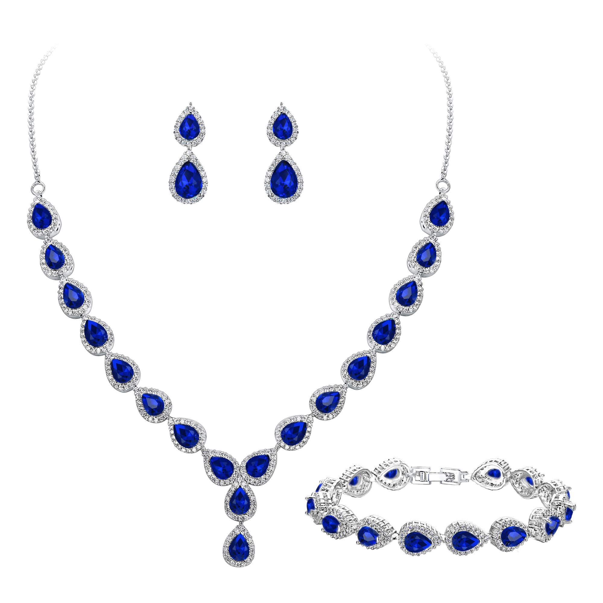 BriLove Women's Wedding Bridal Jewelry Set Y-Necklace Tennis Bracelet Dangle Earrings Set with Teardrop CZ Infinity Figure 8 Sapphire Color Silver-Tone September Birthstone