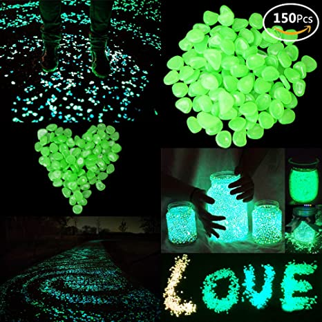 JUSLIN 150pcs Glow in the Dark Garden Pebble with Linen Pouch, for Gardening Decorations,