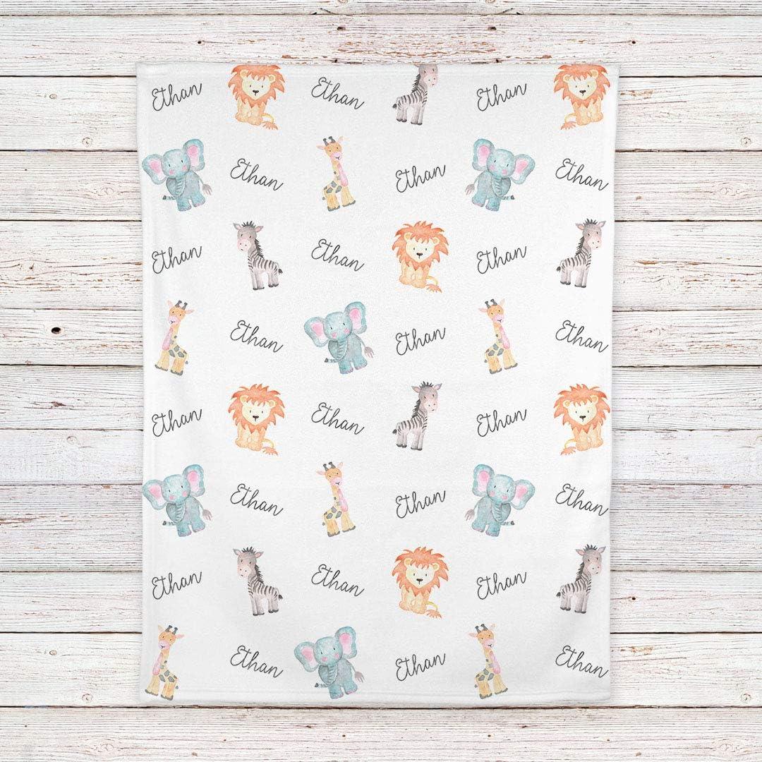 Emji Cashwool Boy or Girl Name /& Birth Date Personalized Knit Baby Blanket Baby Safari Animals  Custom Stroller Blanket BB011