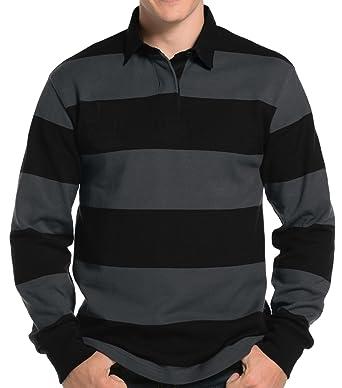 47c4f3408a318 Amazon.com  Buy Cool Shirts Mens Long Sleeve Rugby Polo Shirt  Clothing