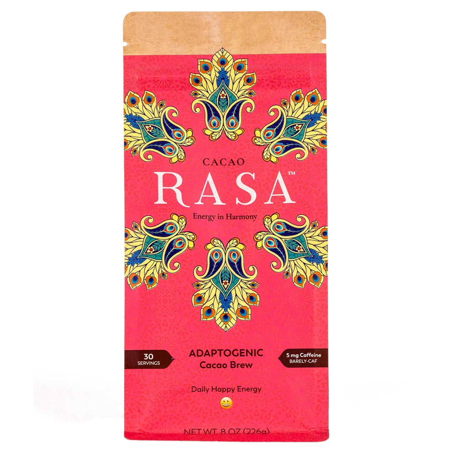 Cacao Rasa Coffee Alternative with Chaga + Reishi for All-Day Energy + Focus - Organic, Adaptogenic, Vegan, Keto, Low Caffeine, Whole30, 8 Ounce by Rasa