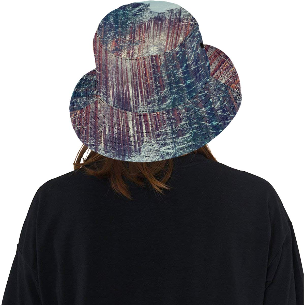 Winter Frosty Snow Forest Landscape New Summer Unisex Cotton Fashion Fishing Sun Bucket Hats for Kid Teens Women and Men with Customize Top Packable Fisherman Cap for Outdoor Travel