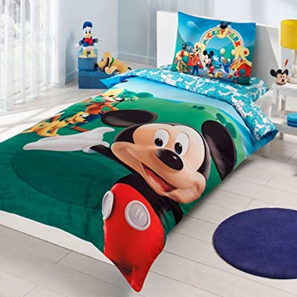 Amazon.com: Mickey Mouse Bedding Duvet Cover Set New Licensed 100 ...