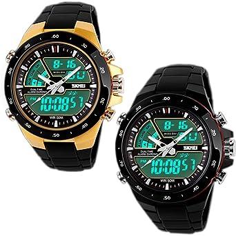 SunJas - Reloj de pulsera, reloj deportivo, cronómetro digital LED, despertador