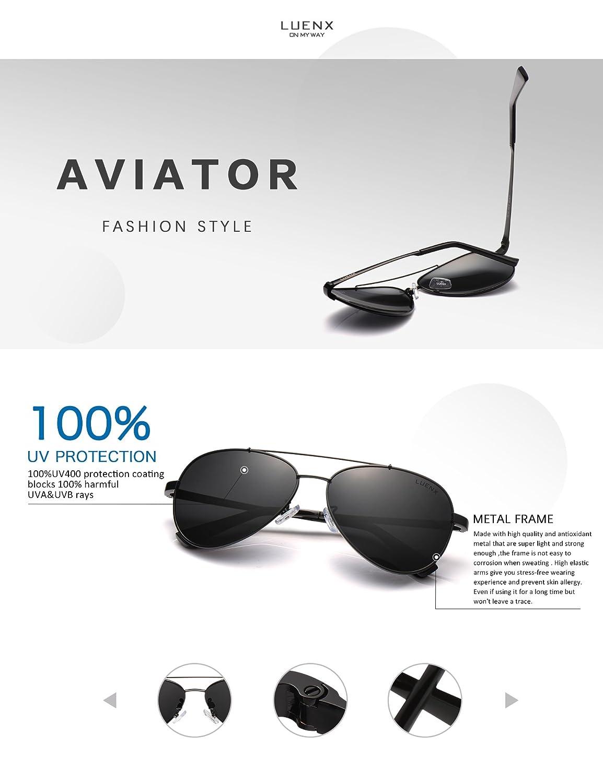 LUENX Men Women Aviator Sunglasses Black Polarized Metal Frame UV 400 60MM