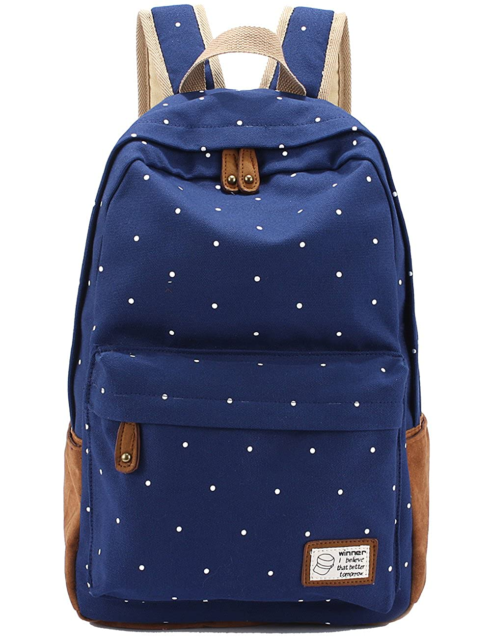 Amazon.com  Mygreen Casual Style Lightweight Canvas Backpack Book Bag Travel  Daypack Printing Point Dark Blue for Small Size  Clothing 47e163a3b729d