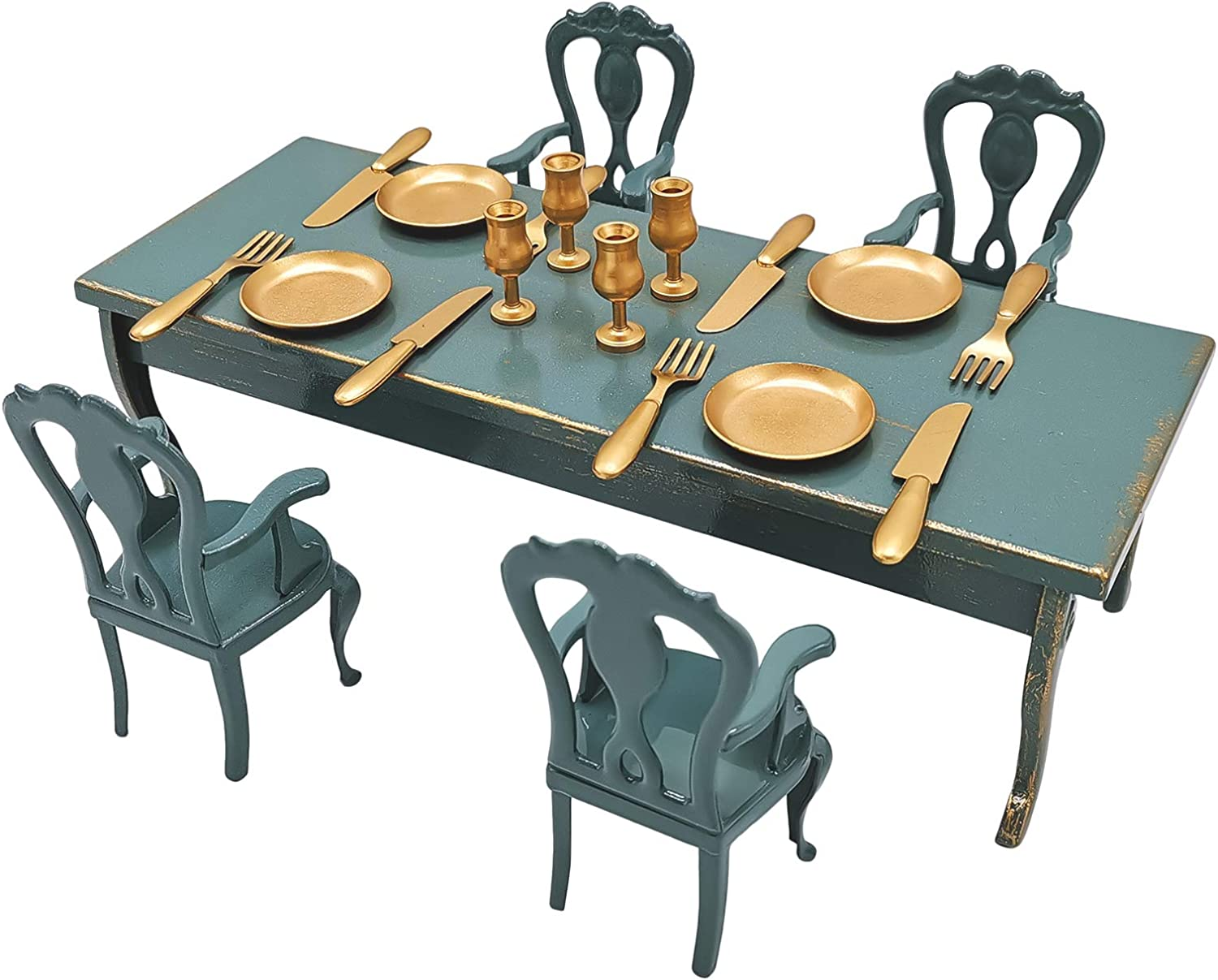 Aizulhomey Metal Dollhouse Miniature Furniture Mini Dining Table Chair and Tableware Set Perfect for Barbie Dollhouse Furniture and Accessories 1/12 Scaled 21Pcs