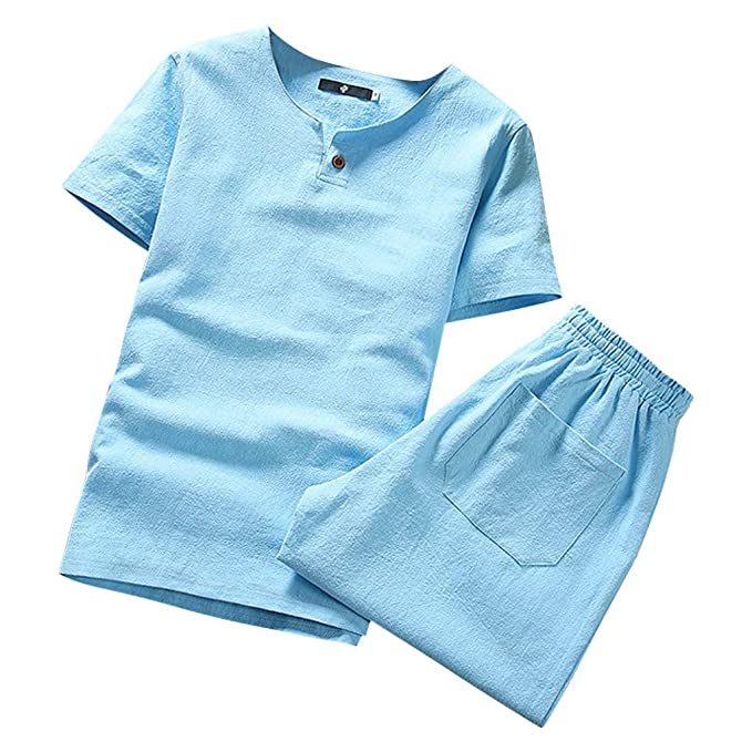 Amazon.com: MOSERIAN Mens Suit Summer New Cotton and Hemp Short Sleeve Shorts Fashion Comfortable Suit: Clothing
