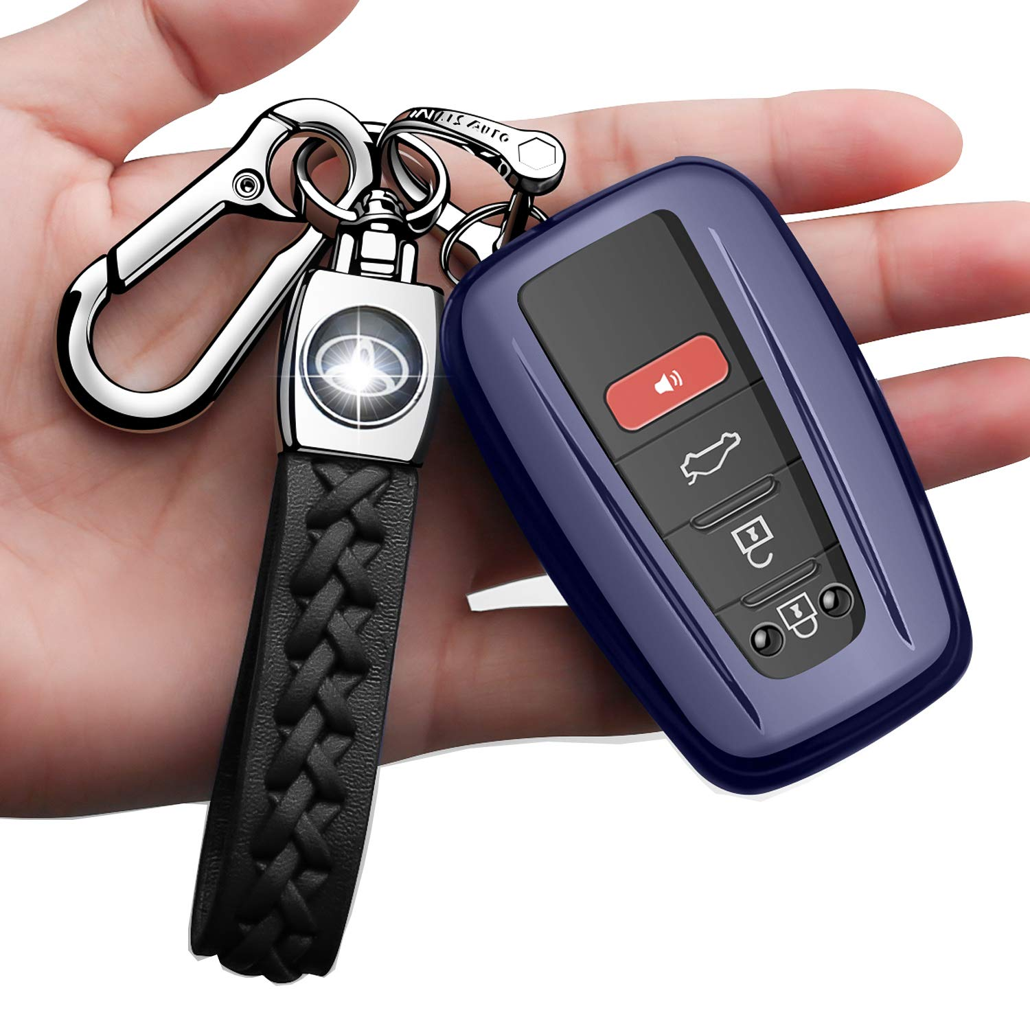 Autophone for Toyota Key Fob Cover with Keychain,Premium Soft TPU 360 Degree Protection Key Case Compatible with Toyota Highlander RAV4 Camry Corolla Avalon Tocoma Tundra Smart Key,Silver