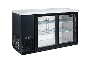 Dukers Appliance USA DBB60-S2 Sliding 2 Door Back Bar Beverage Cooler, Black