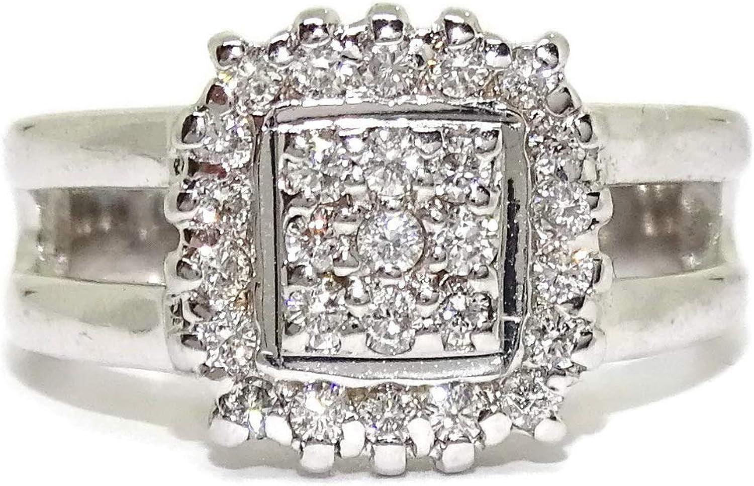 Never Say Never Anillo de Oro Blanco de 18k con 27 Diamantes Talla ...