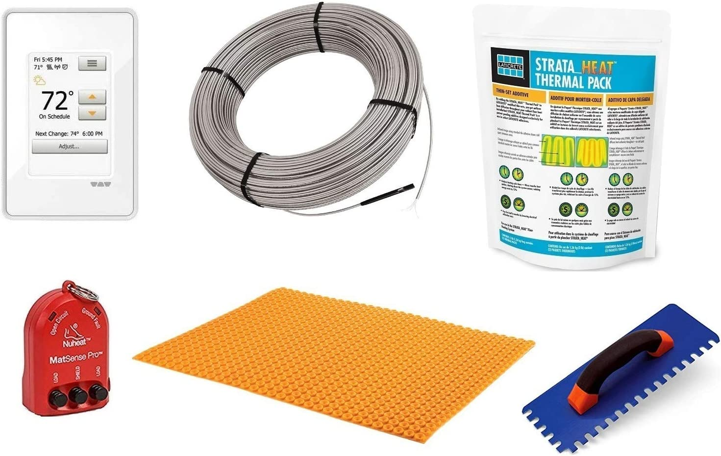 Schluter Ditra Signature Floor Heating Kit -64 Square Feet- Includes Touchscreen Programmable Thermostat, Heat Membrane, Heat Cable DHEHK12064, Safe Installation Tools, Heat Enhancing Additive