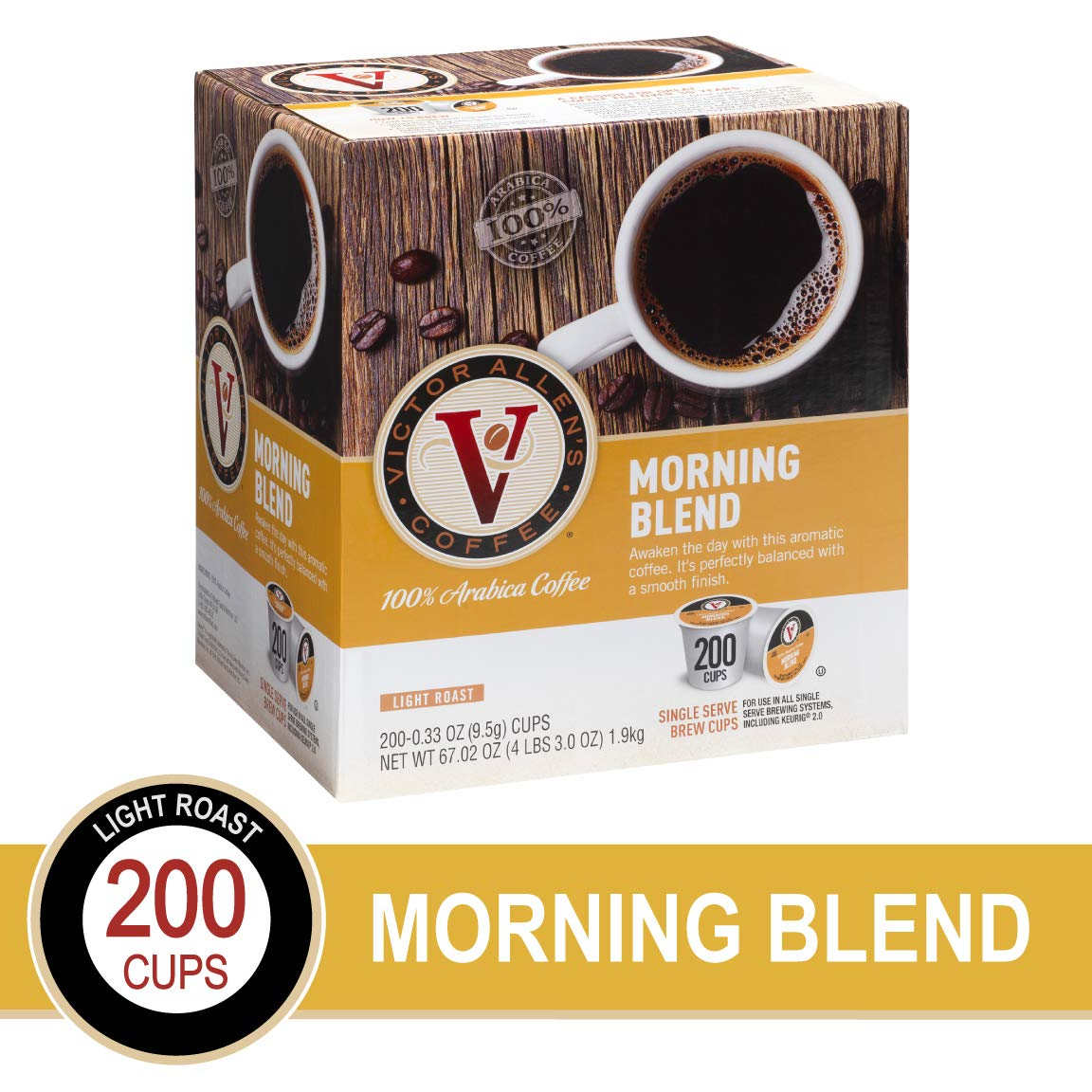 Morning Blend for K-Cup Keurig 2.0 Brewers, 200 Count, Victor Allen's Coffee  Single Serve Coffee Pods