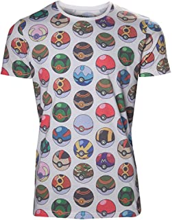 Meroncourt Pokemon Men's all-Over Poke Ball Print T-Shirt Uomo