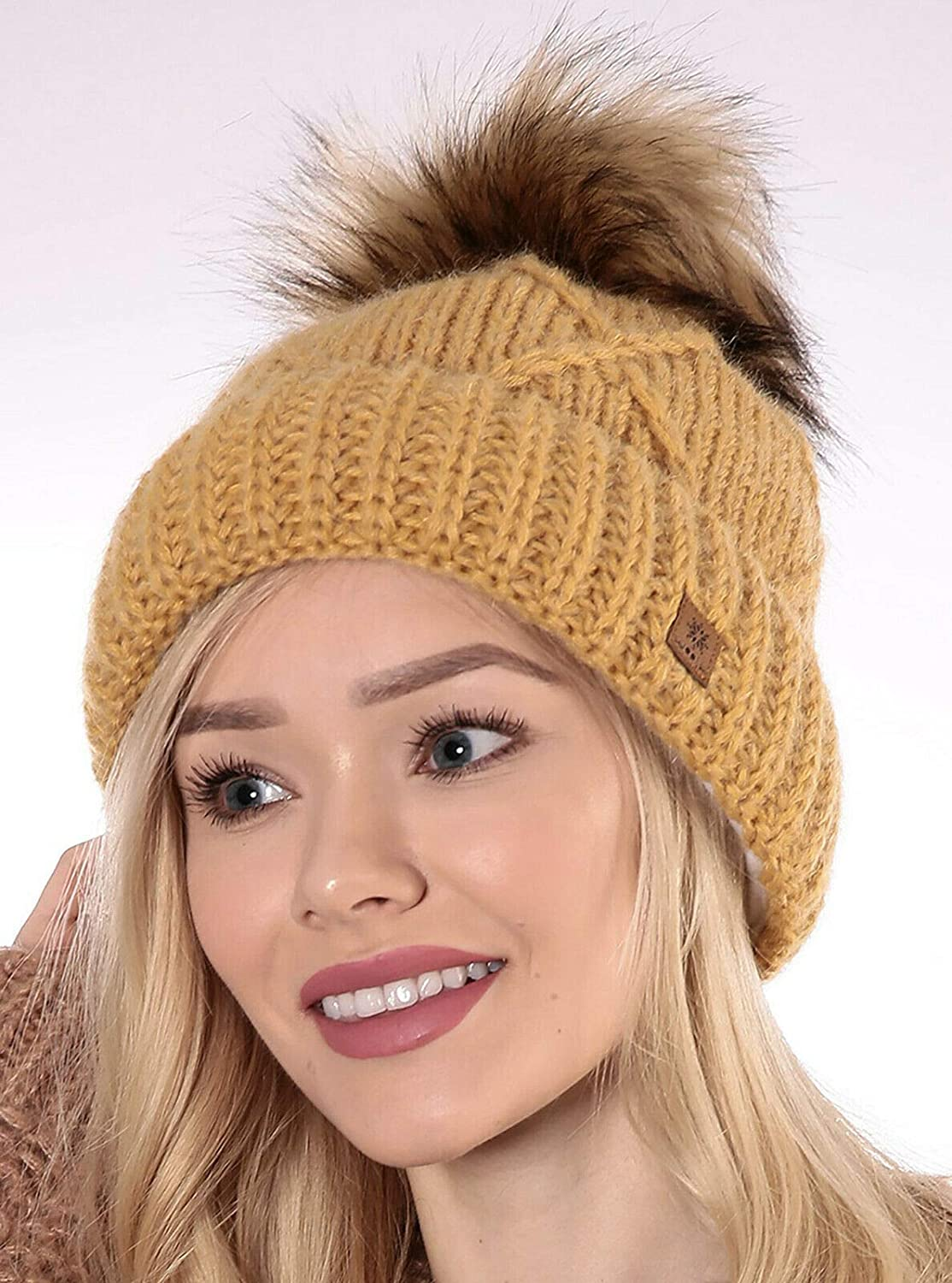 4sold Womens Ladies Beanie Hat Pom Pom Warm Winter Natural Wool Mohair Lining Full Cosy Fleece Liner