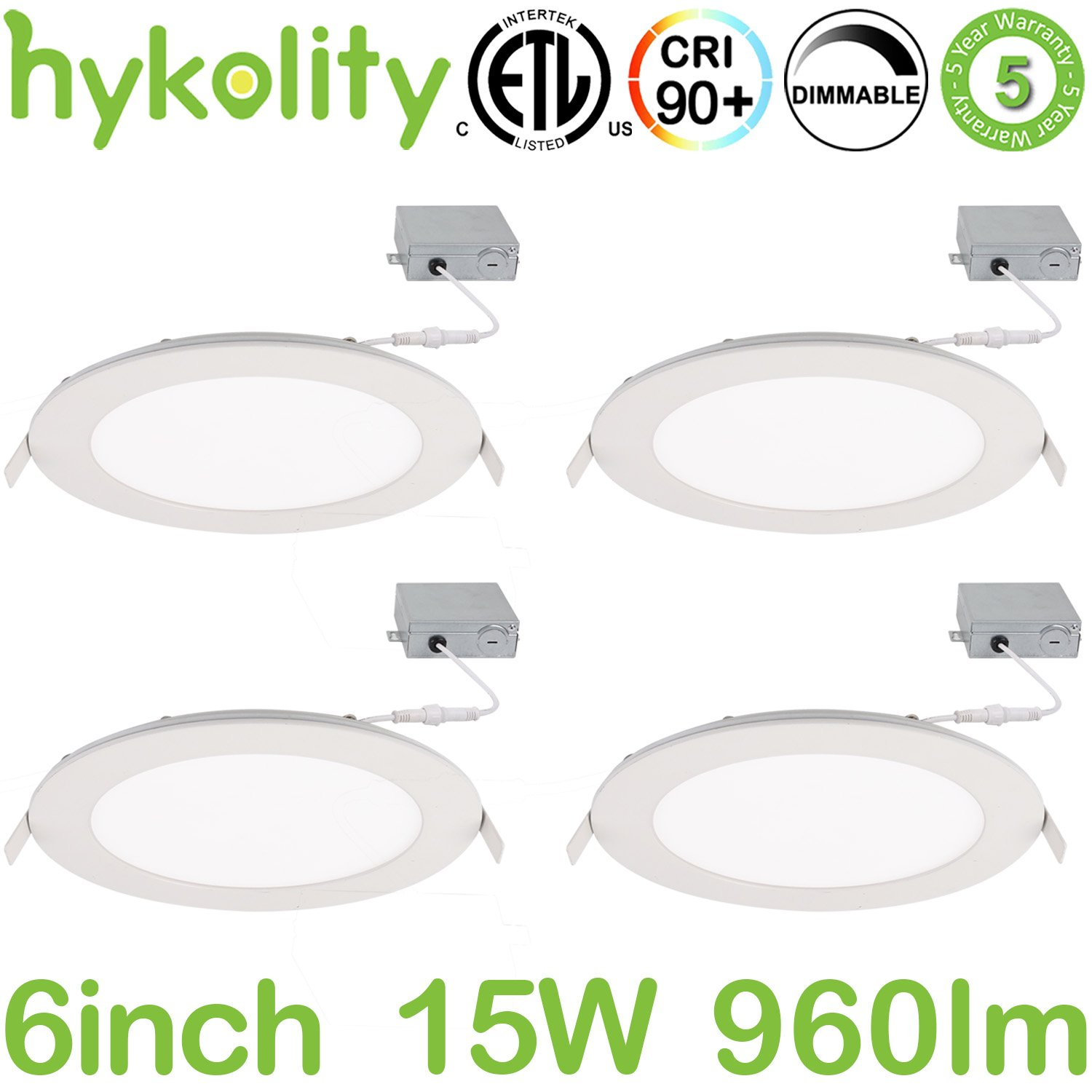 Hykolity 15W 6 inch LED Slim Recessed Ceiling Light, Low Profile Downlight with Juction Box Dimmable, 960lm CRI90, 4000K Neutral White, ETL& Energy Star Listed 4 Pack