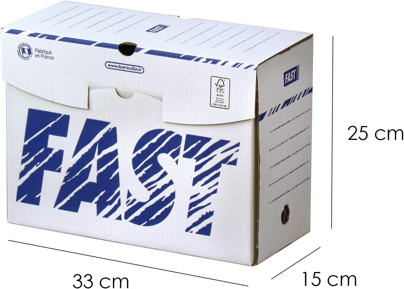 Fast treillet paquete retractilado de 10 cajas de archivo definitivo.lomo de 20 cm.: Amazon.es: Oficina y papelería