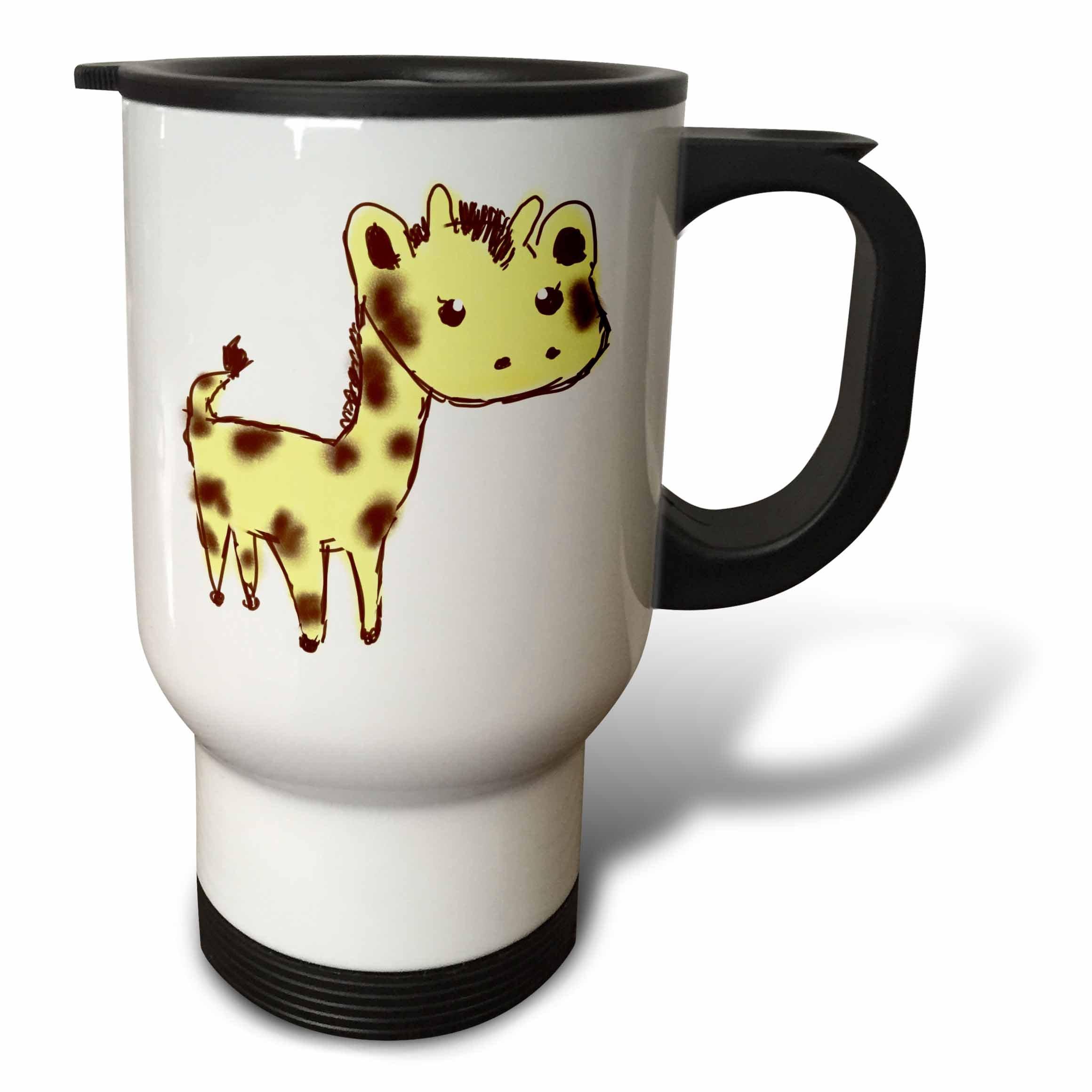 3dRose tm_32765_1 Cute Yellow Giraffe Larger Animals Cartoon Art Travel Mug, 14-Ounce, Stainless Steel