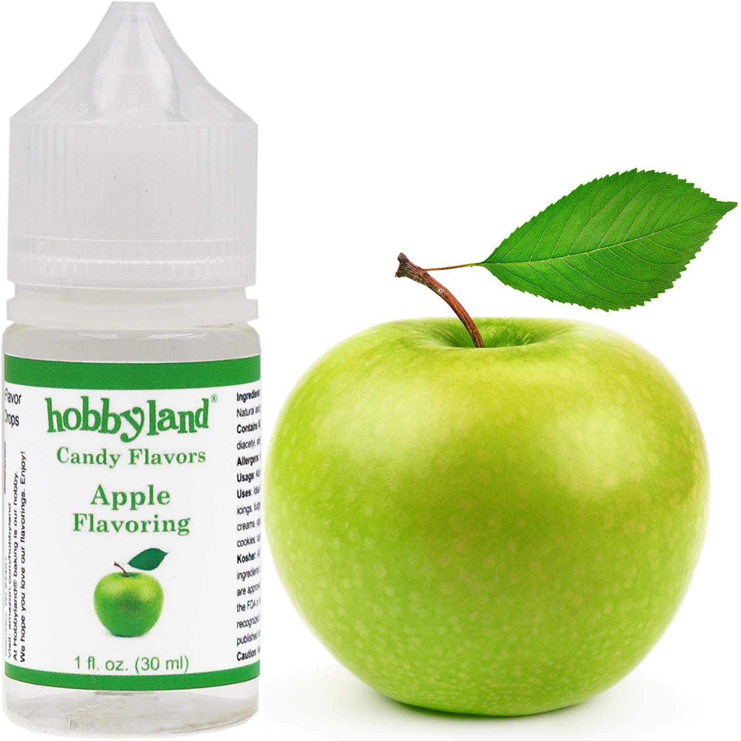 Hobbyland Candy Flavors (Apple Flavoring, 1 Fl Oz), Apple Concentrated Flavor Drops